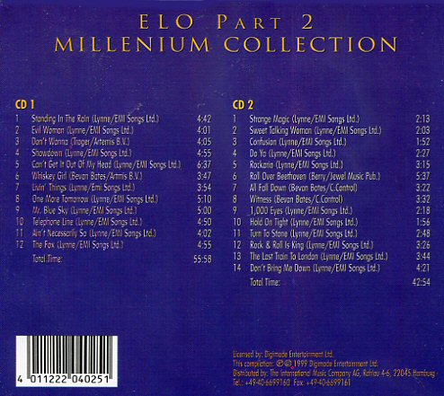 Elo Electric Light Orchestra Millenium Collection Dcd